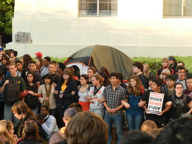 UCB Students in front of Sproul Hall